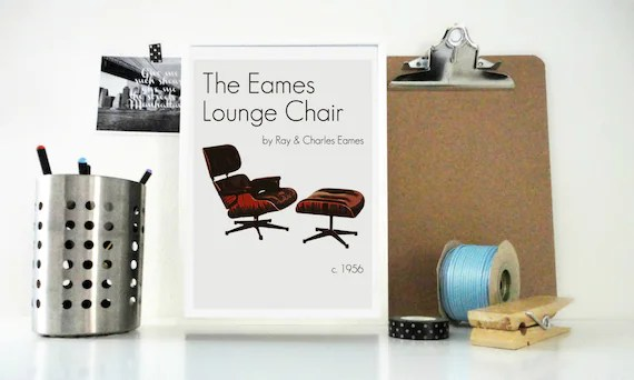 charles eames lounge chair posture ball office art print poster the by ray and etsy image 0