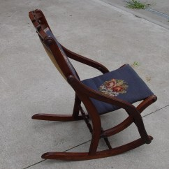 Antique Sewing Chair Dining Room Covers Canada Rocker Rocking Needlepoint Back And Seat Etsy 50