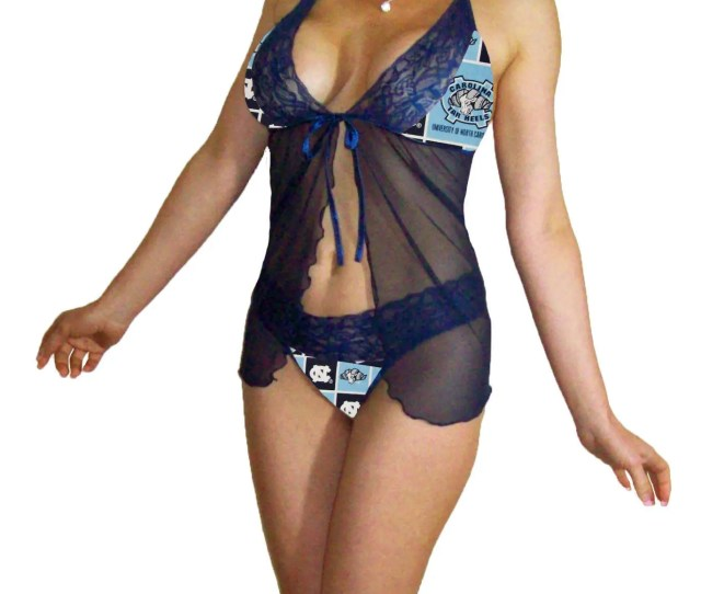 Carolina Tar Heels Navy Blue Sexy Lace Babydoll St W G String Panties Pls Read Sizing Info Xl Extra Large To 2x Plus Made To Order