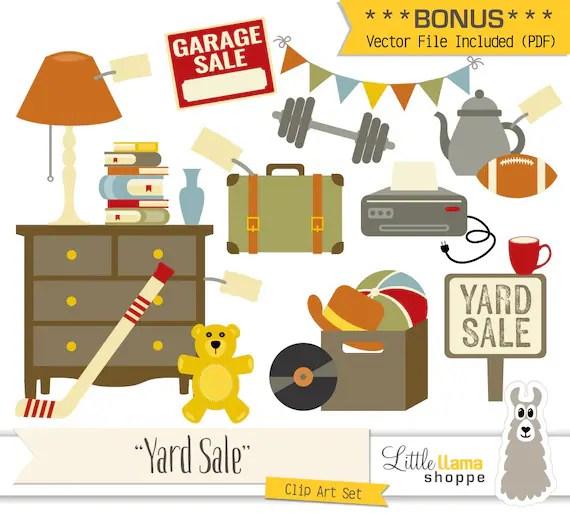 Yard Sale Clipart Vector Garage Sale Clip Art Rummage Sale Etsy