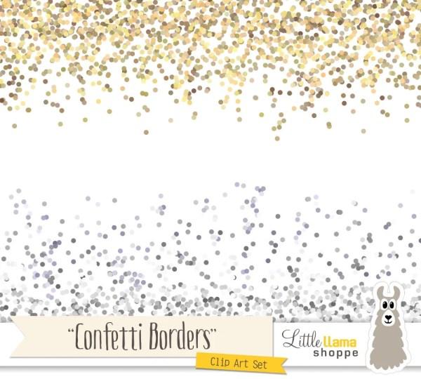 confetti border clip art gold glitter
