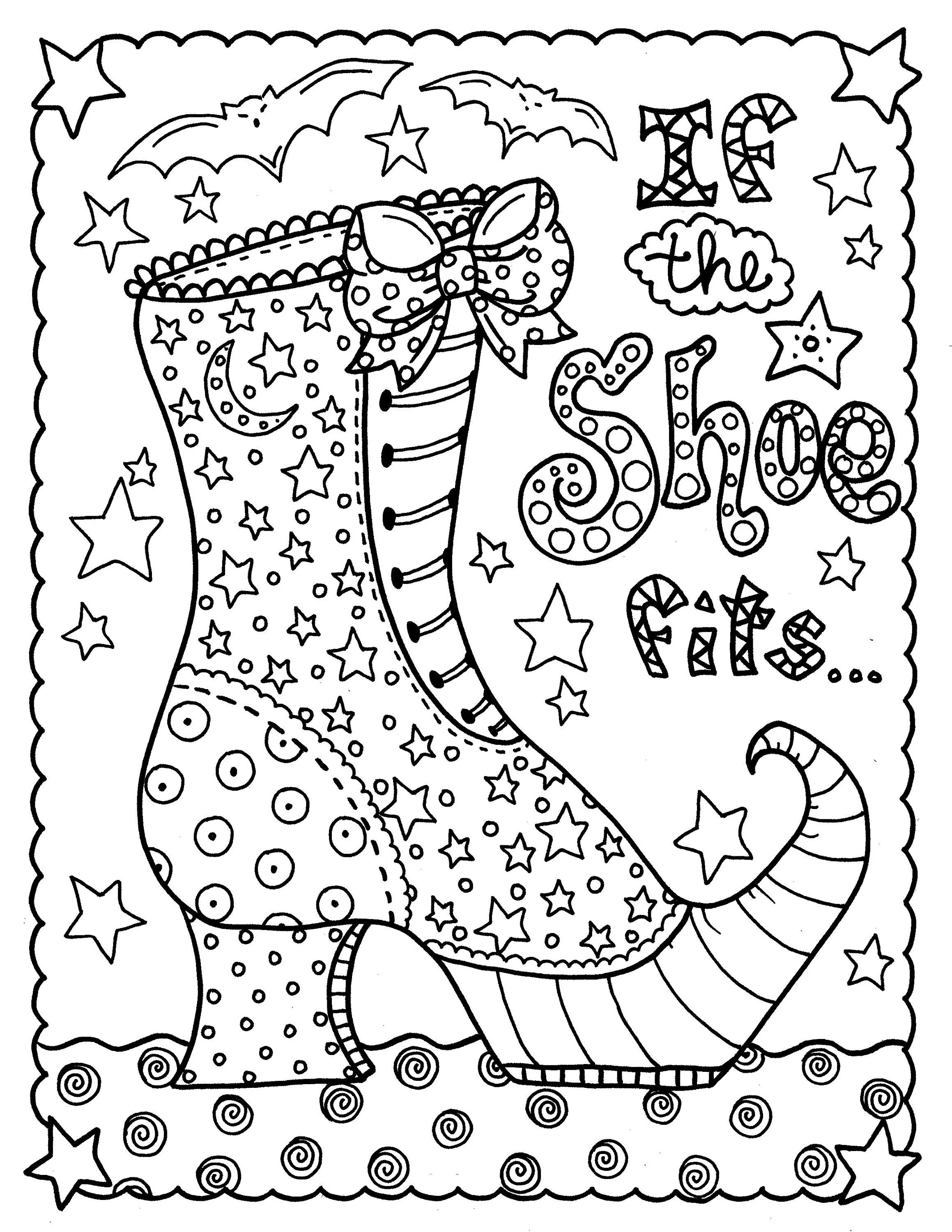 Digital download witch shoe halloween coloring page