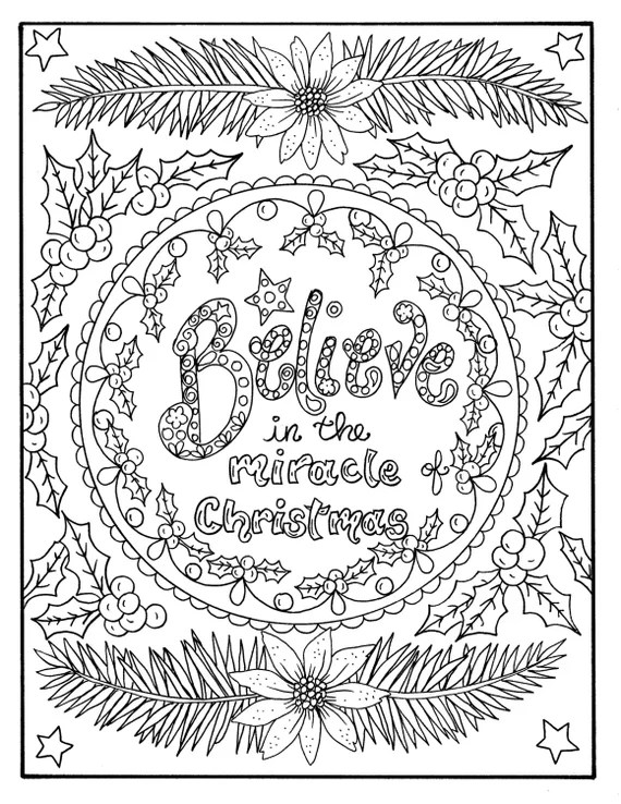 Christmas Coloring page Believe in the Miracle Adult ... | christmas colouring pages for adults