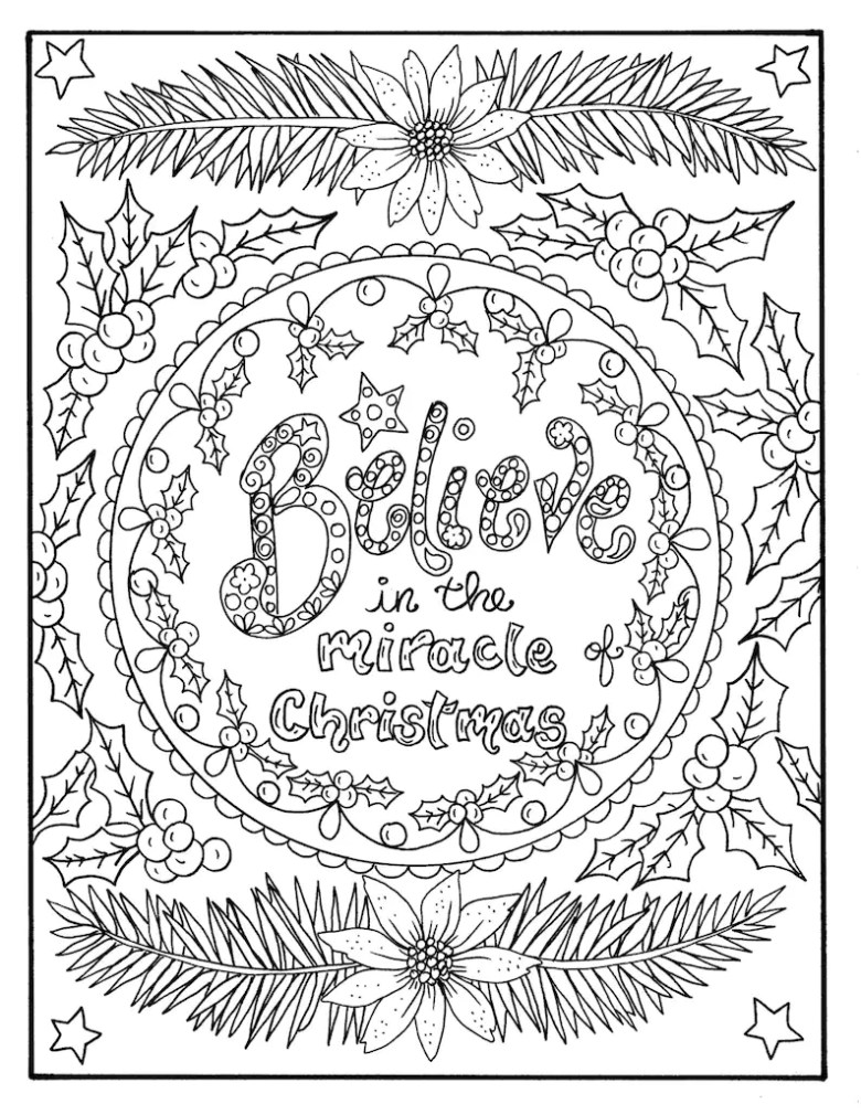 christmas coloring page believe in the miracle adult christian | etsy