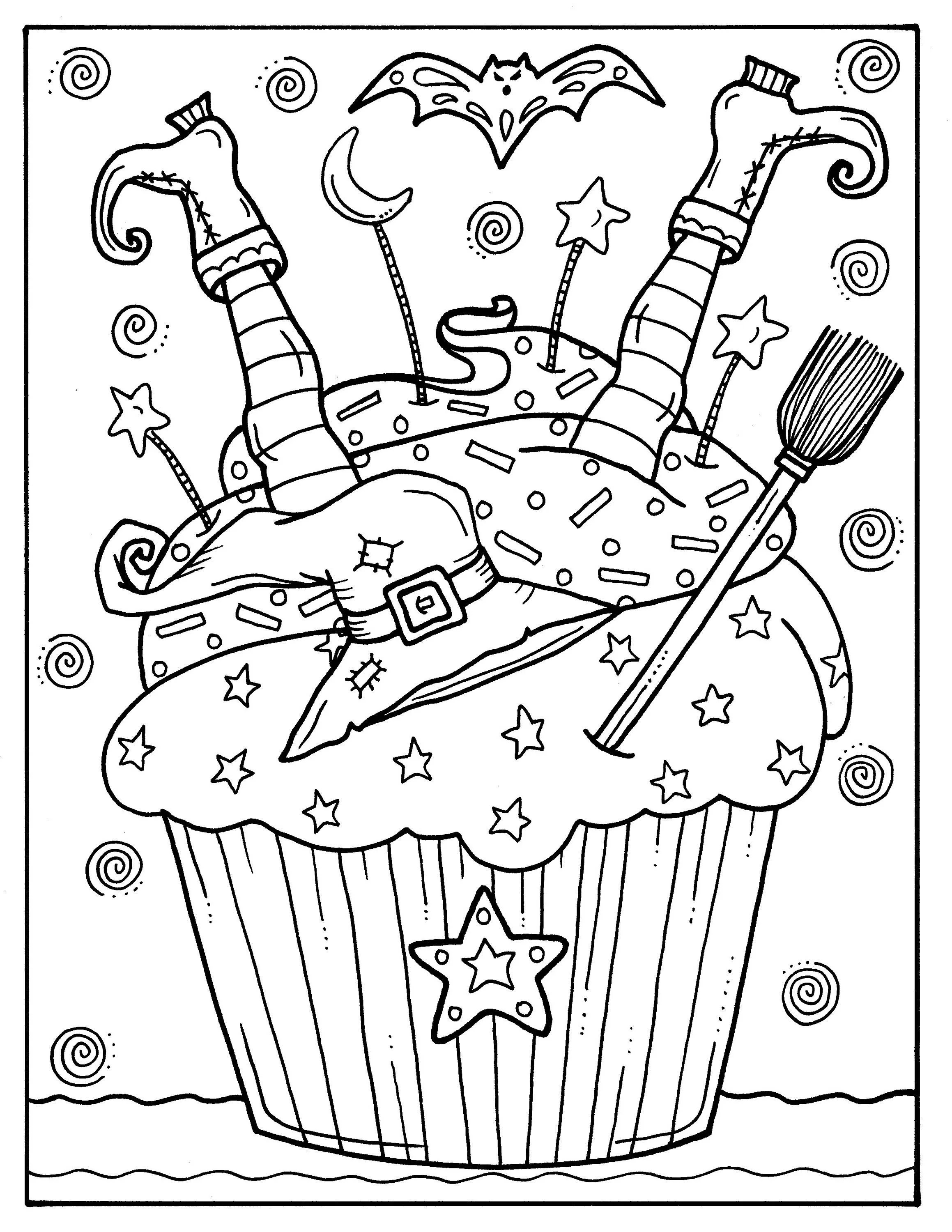 5 Pages Halloween Cupcakes To Color Instant Download