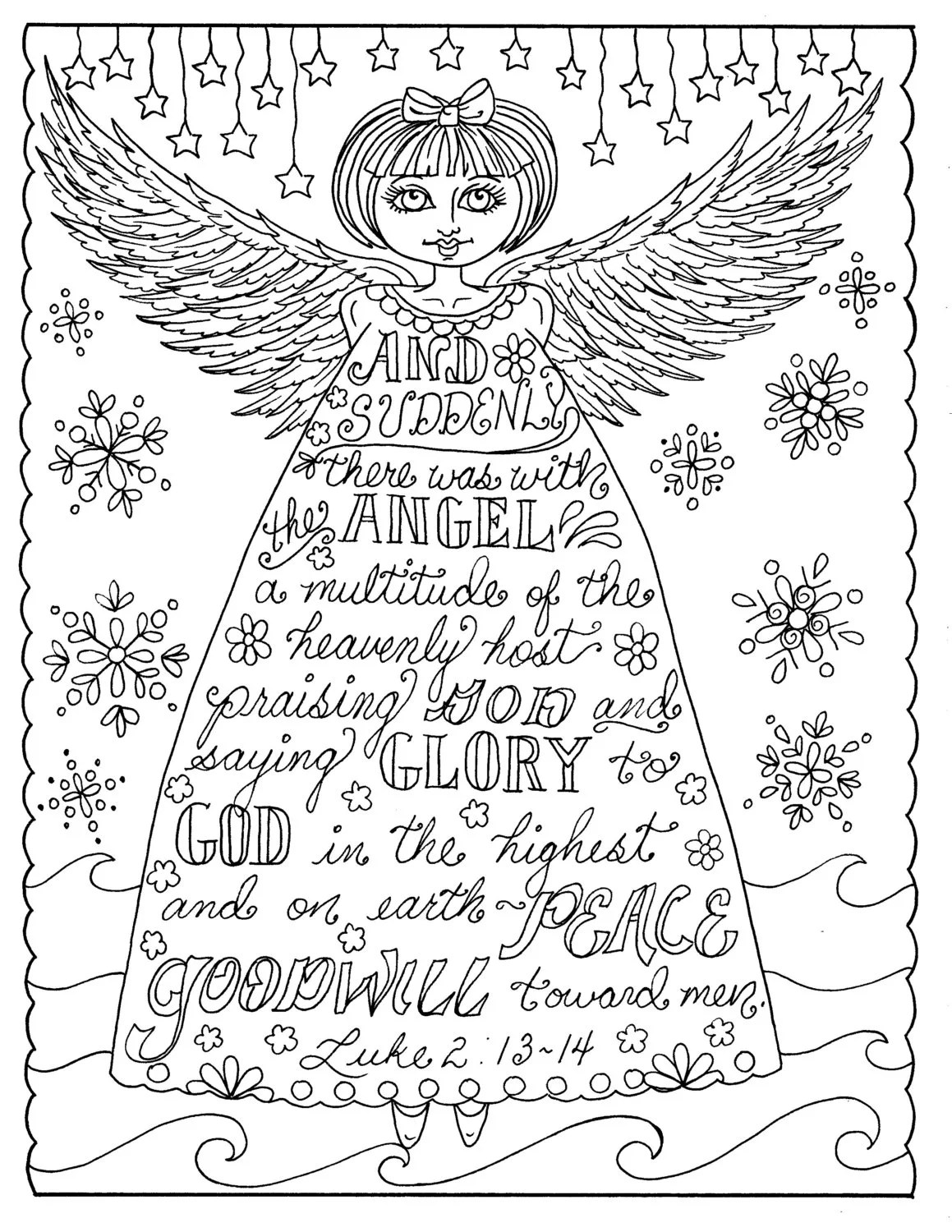 Christmas Angel Christian Coloring page Adult coloring