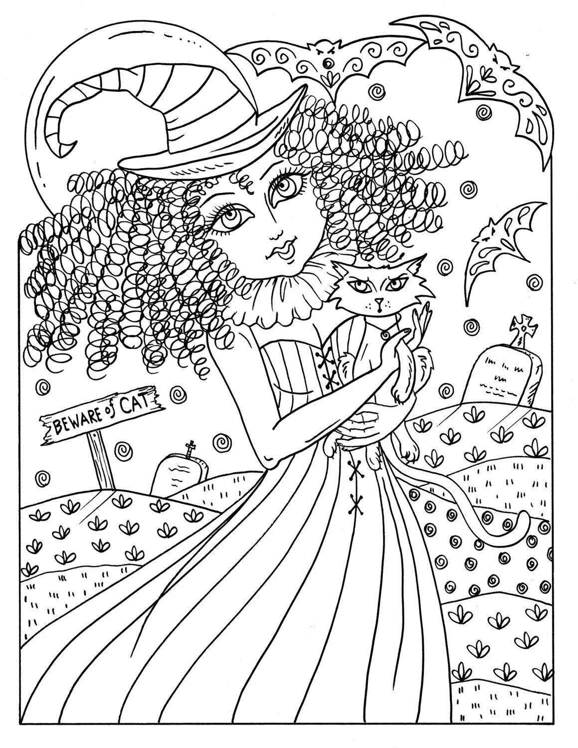 Magical Witches Coloring fun Halloween for all ages spooky