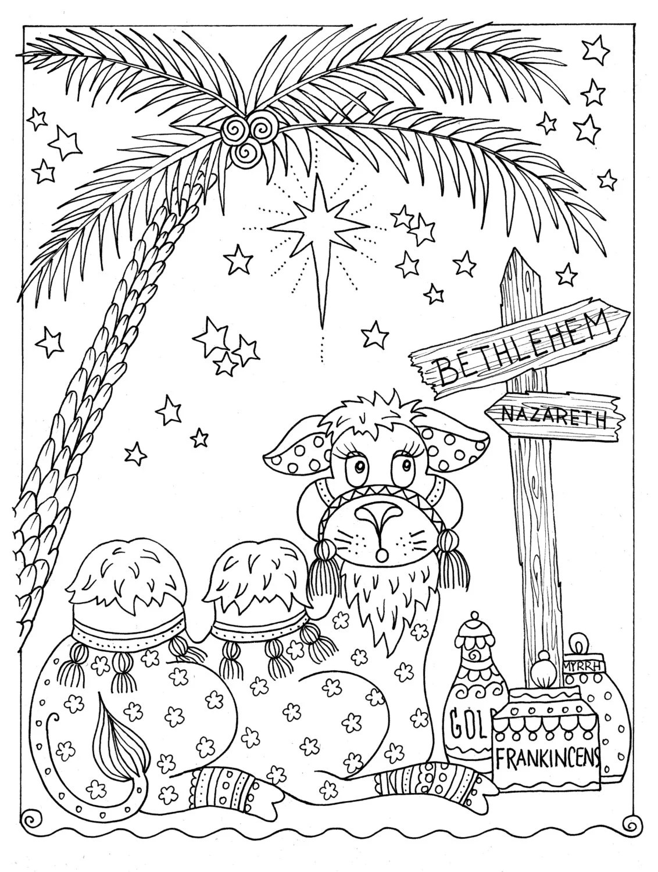 Vegas Sou: Christmas Camel Coloring Page