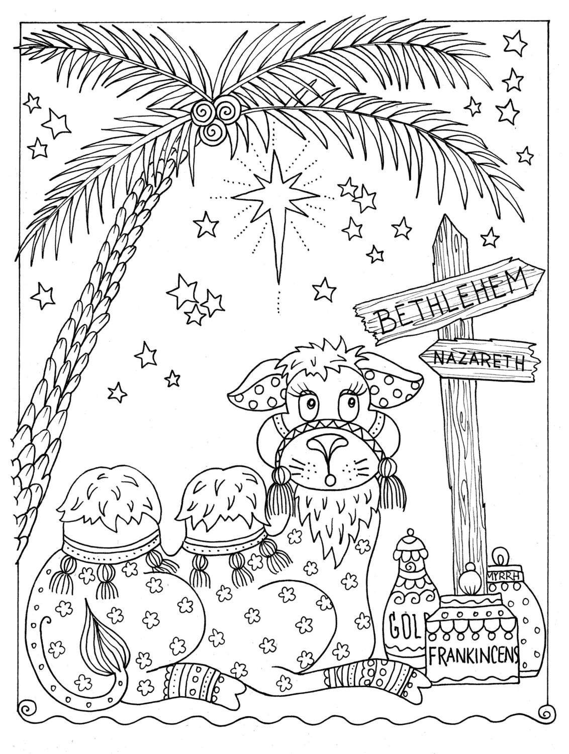 Instant Coloring Page Christmas Coloring Fun Camel