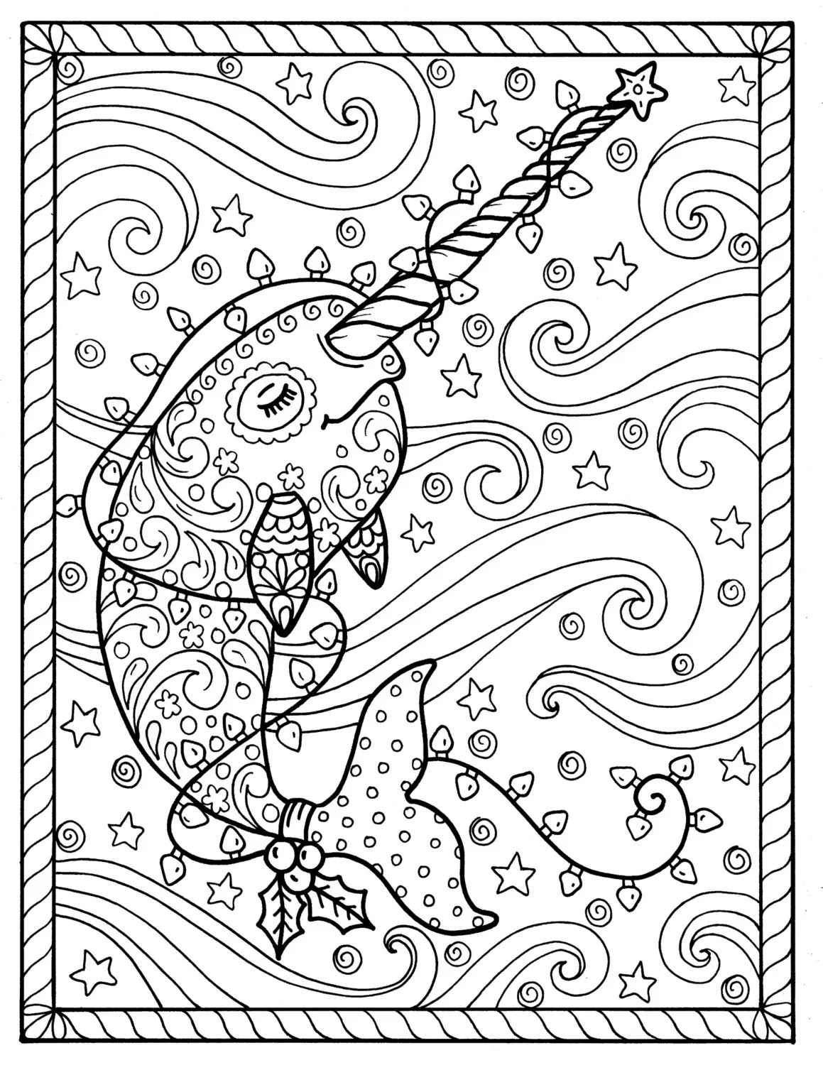 Narwhal Coloring Page : narwhal, coloring, Narwhal, Christmas, Coloring, Pages, Adult, Books