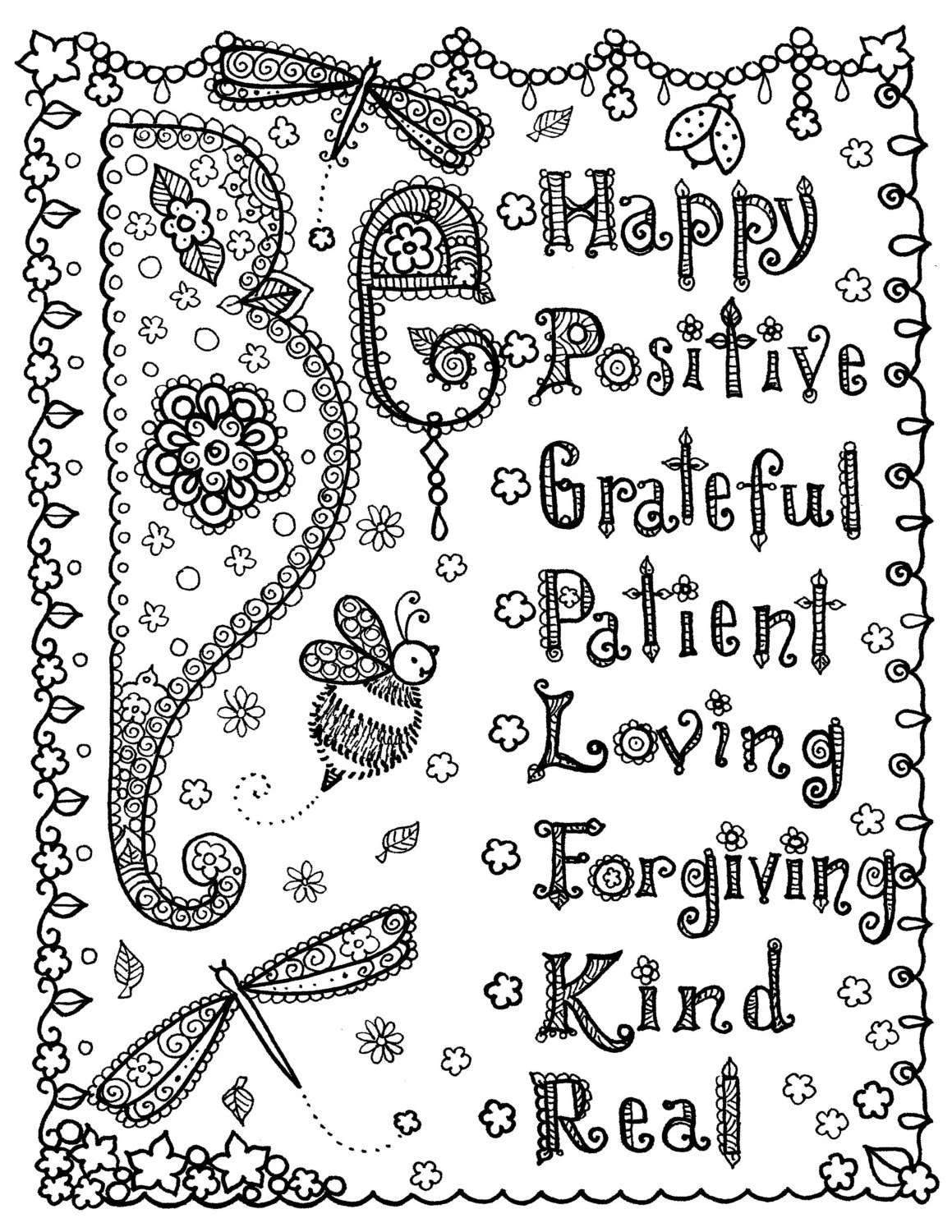 INSTANT Download Coloring Page 8 1/2 x 11 May all things be