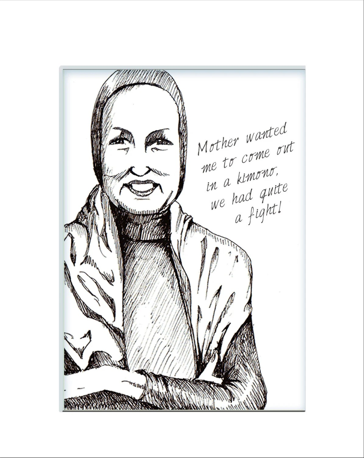 Original black and white drawing of the Divine Edie Beale