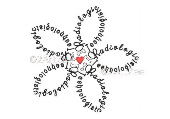 Radiology Technologist Word Flower Machine Embroidery