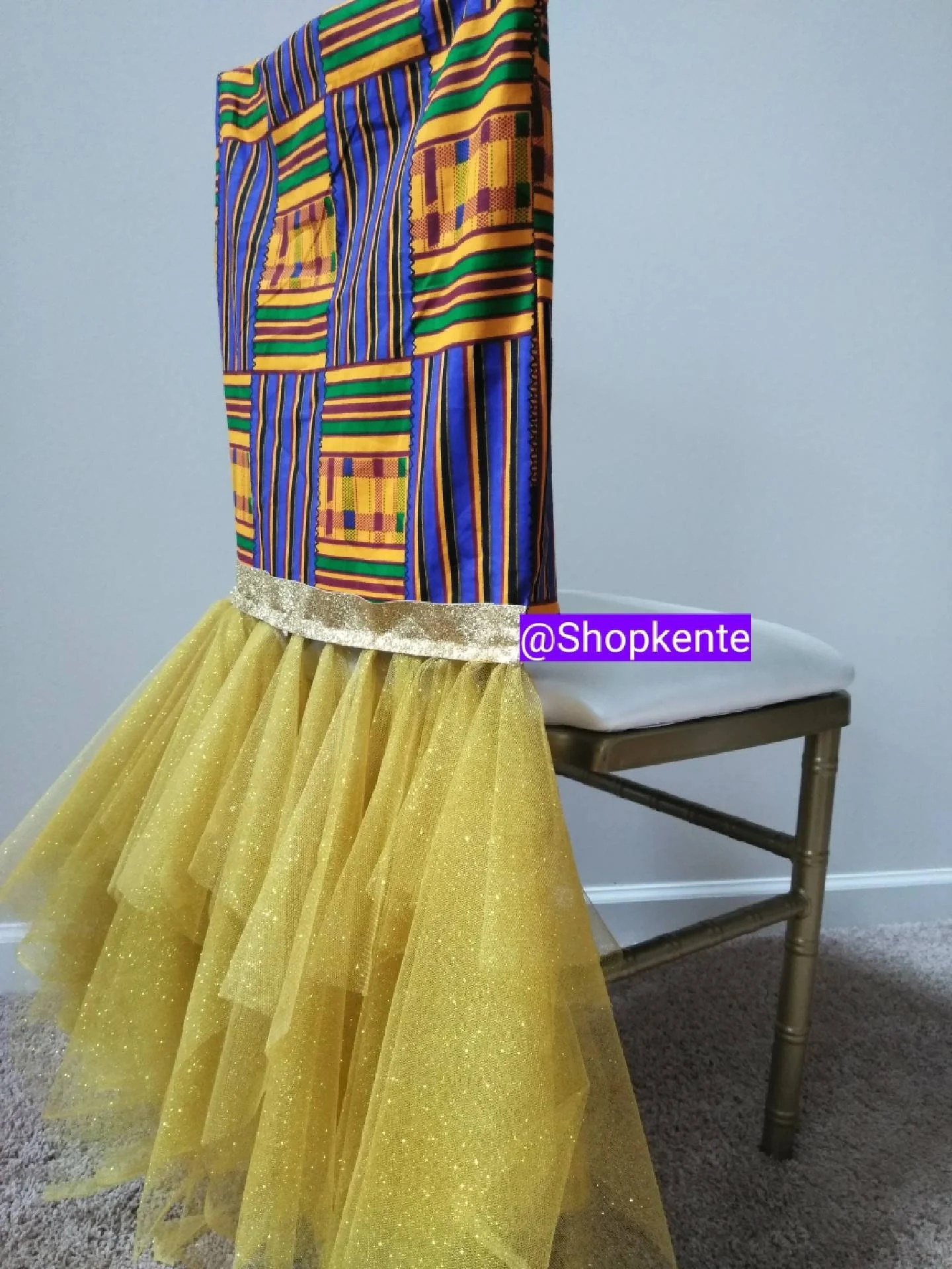 Yellow Chair Covers Afrocentric Kente Chair Cover For Weddings African Theme Events Ethnic Chair Covers Kente Chair Covers