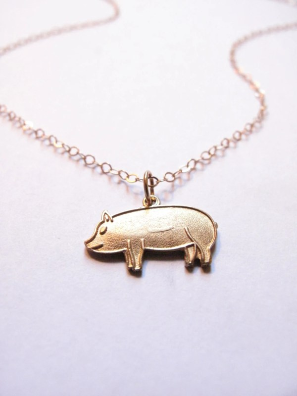 Pig Charm Necklace 14 Kt Gold