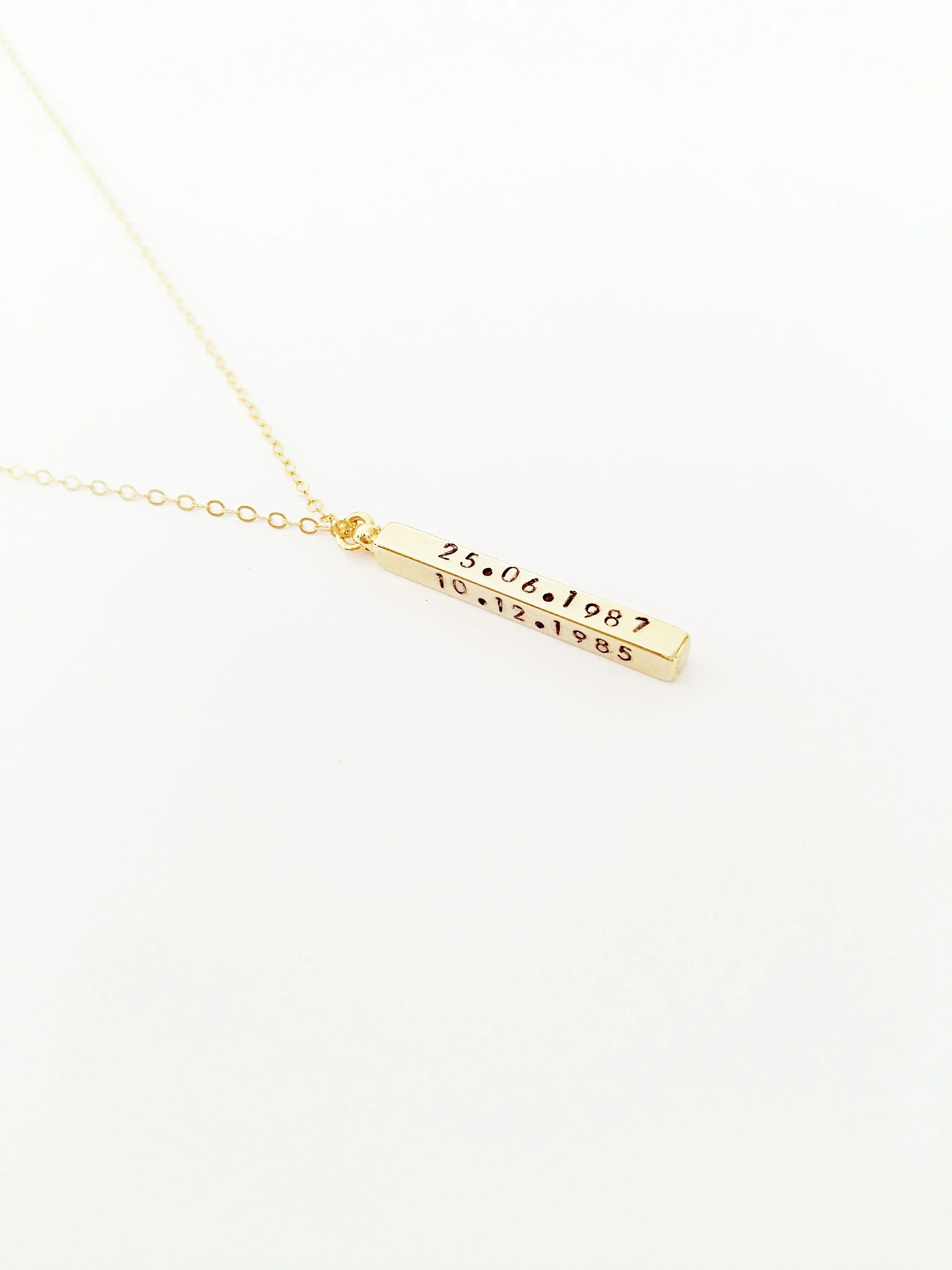 Personalized 3D Bar Necklace // Custom Name Date Phrase image 9