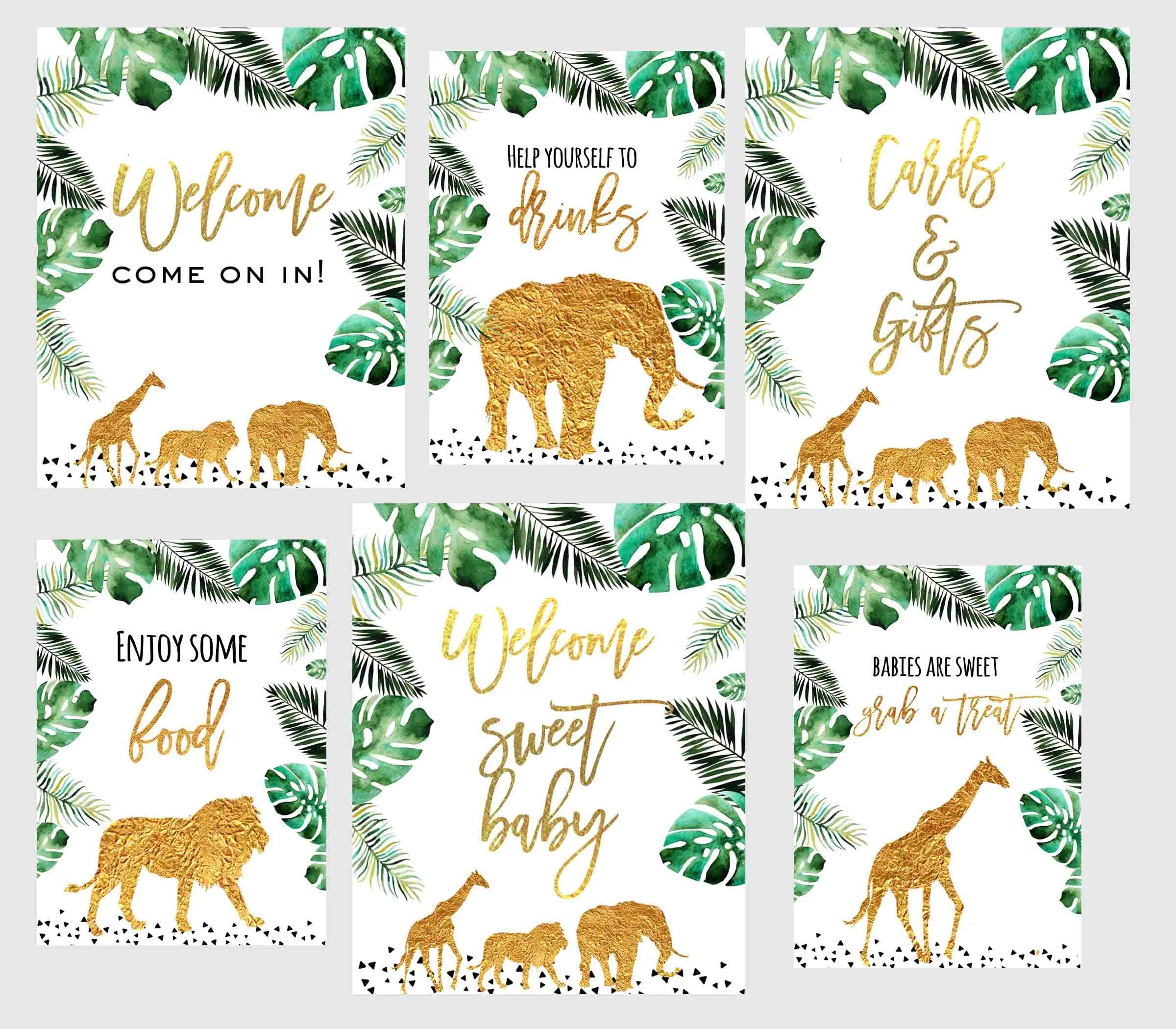 Jungle Baby Shower Decorations Signs Gold Jungle Animals