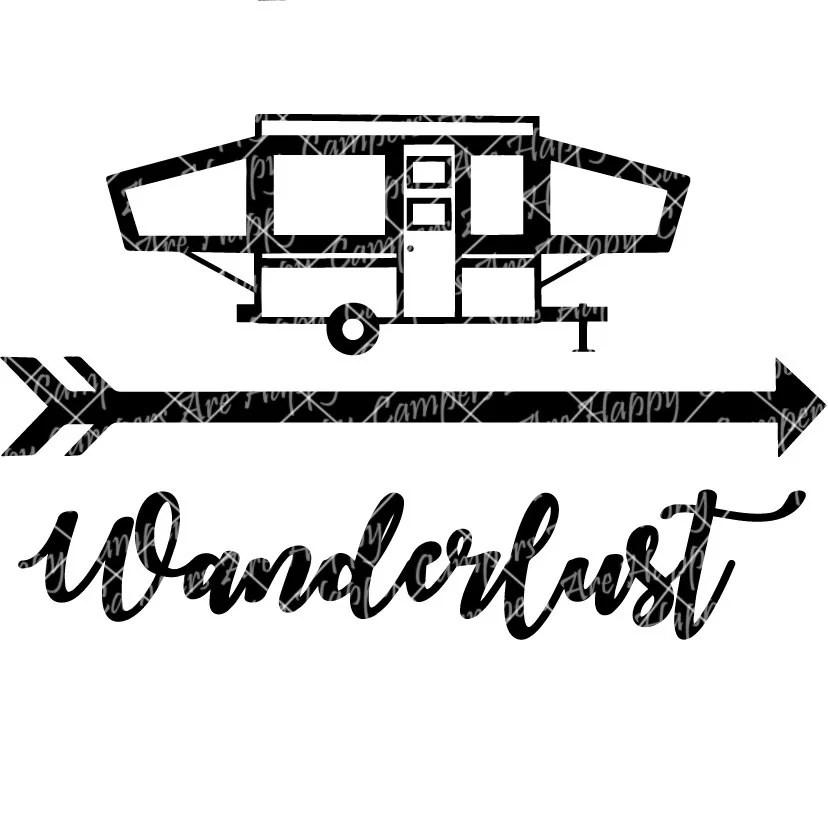 Wanderlust Pop Up Camper SVG DXF PNG pdf jpeg files Popup