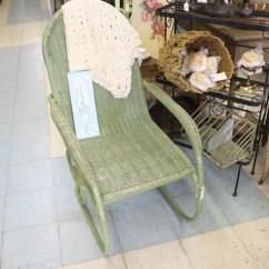 Vintage Wicker Rocking Chair Barcelona Chairs Replica Rocker Green Garden Seating Iron Etsy Image 0