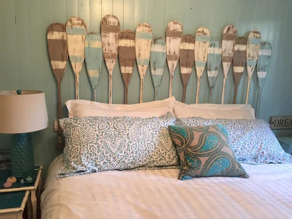 painted paddle oar headboard queen size beach house style coastal nautical by castawayshall