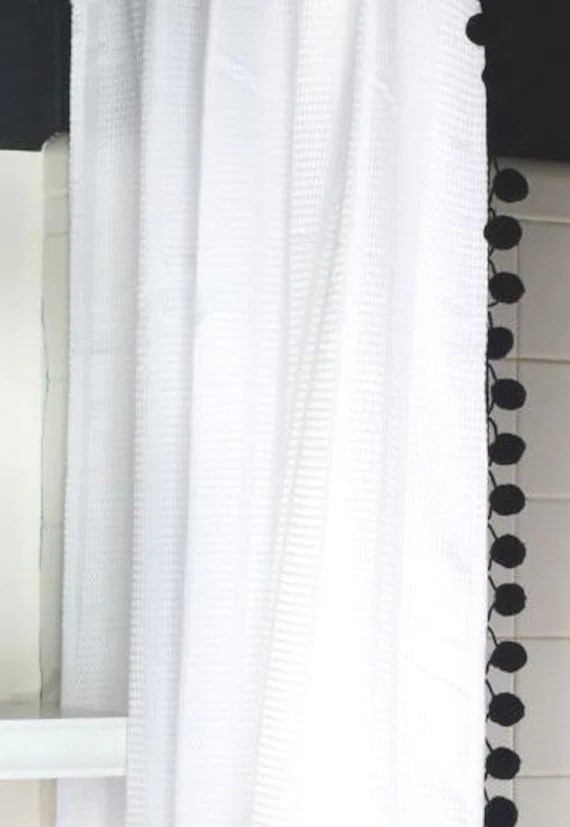 White Cotton Waffle Weave Shower Curtain With Black Pom Poms Etsy