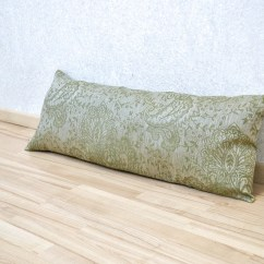 Linen Bench Cushion Sofa Half Moon Shaped Long Lumbar Olive Green Throw Pillow Cover Etsy Image 0