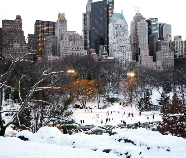 New York City Photography Central Park Ice Skating Print Winter City Photo Architecture Urban Landscape Frozen Snow Wall Art