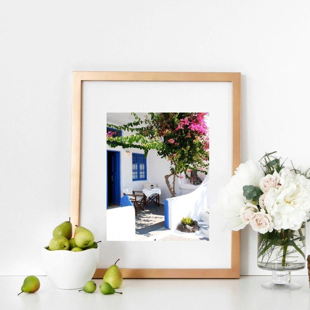 Santorini Greece Photography Print - Oia Photo - Cafe Photograph - Greek Islands Print - Blue and White Decor - Mediterranean Wall Art