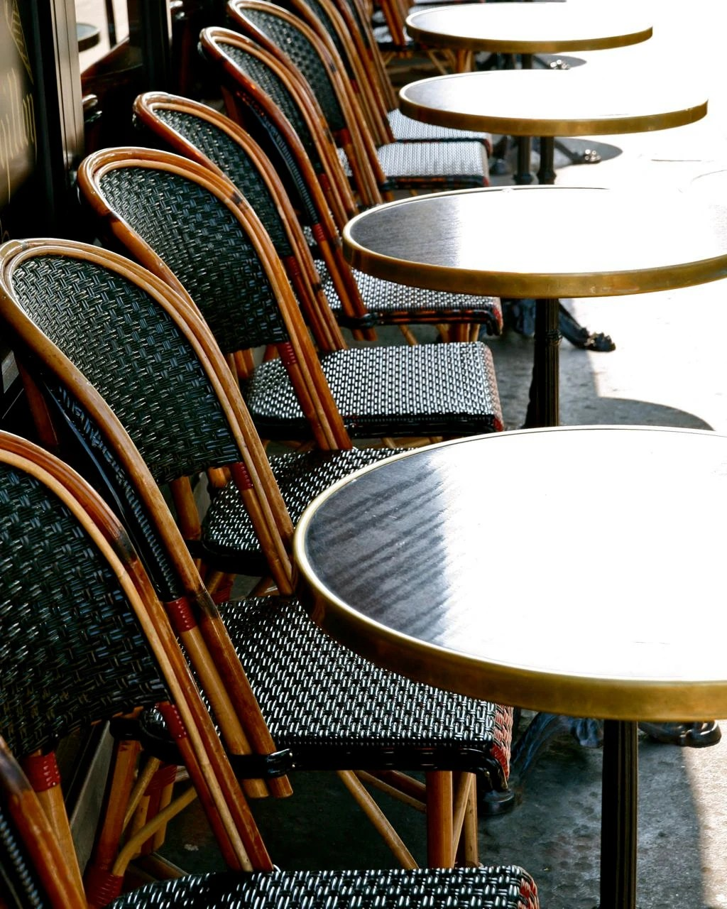 parisian cafe table and chairs rattan chair cushions paris photography french tables photograph etsy 50