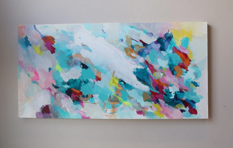 acrylic painting teal turquoise