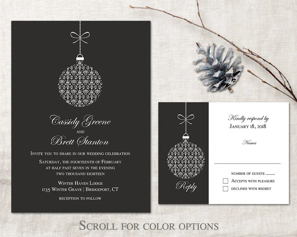 Winter Wedding Invitation Printable Set Christmas Wedding