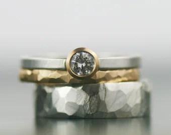 moderne Verlobungsring Frauen Ehering Set Moissanite Ring
