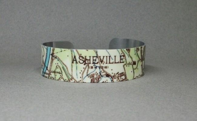 Asheville North Carolina Cuff Bracelet Map Unique Gift For