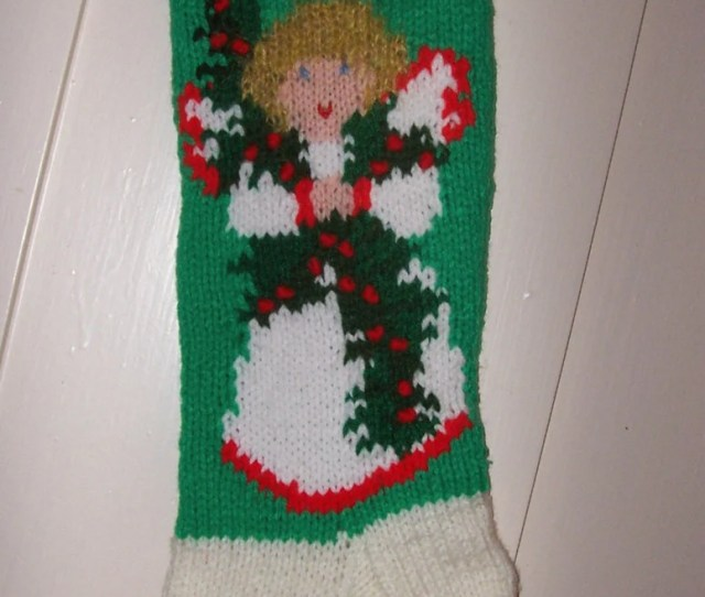 Hand Knit Christmas Angel Stocking Personalized