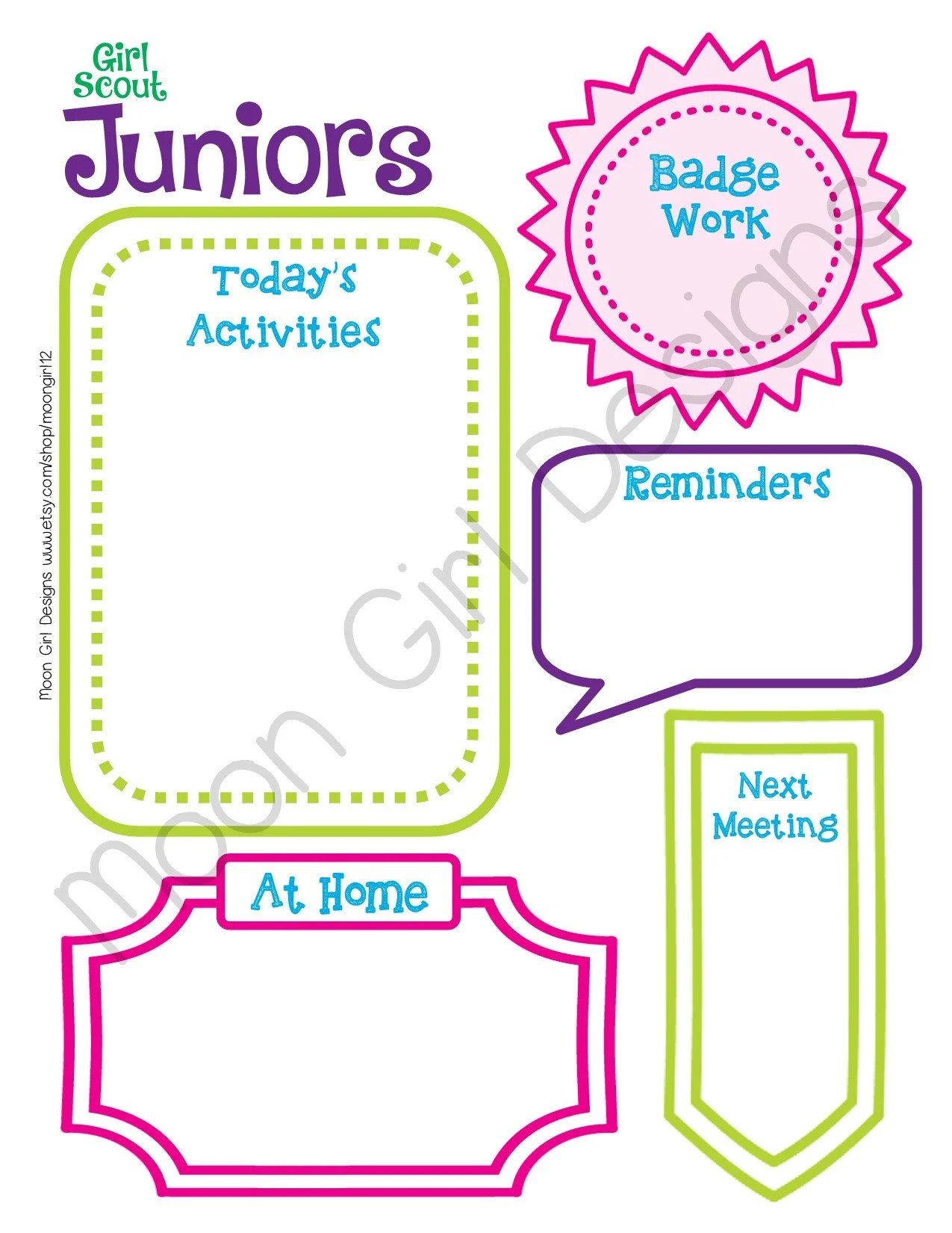 Junior Meeting Activity Planner Girl Scouts Editable