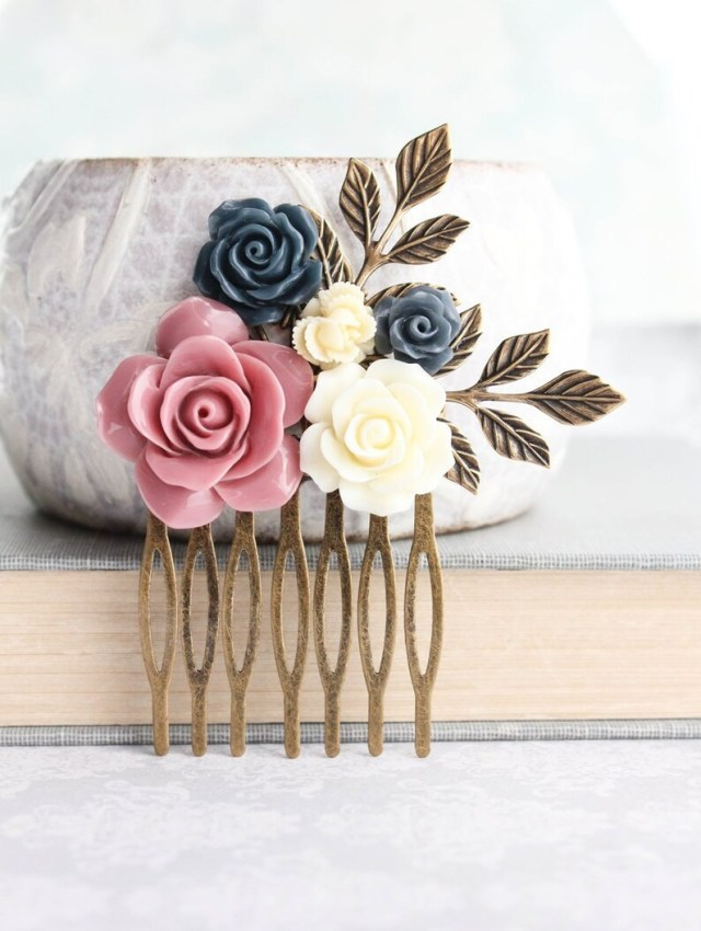 floral bridal hair comb dusty rose pink wedding navy blue rose comb hair accessories bridesmaid gifts vintage style gift for her gold branch