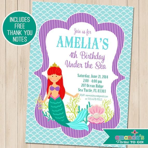 mermaid party invitation mermaid