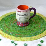 Spring Table Trivet 14 Place Mat Handmade Batik Hot Pad Gorgeous Fabric Trivet Kelly Green Table Topper Runner Coiled Rope Mat