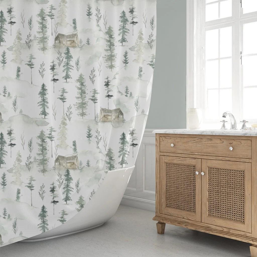 cabin shower curtain woodland shower curtain rustic forest shower curtain watercolor shower curtain rustic cabin bath decor green