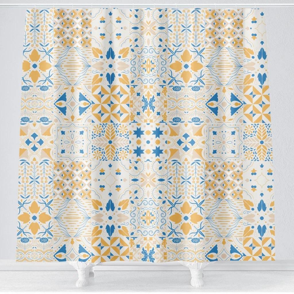 blue yellow bathroom decor floral shower curtain moroccan tile shower curtain farm house bathroom decor corn yellow dusty blue