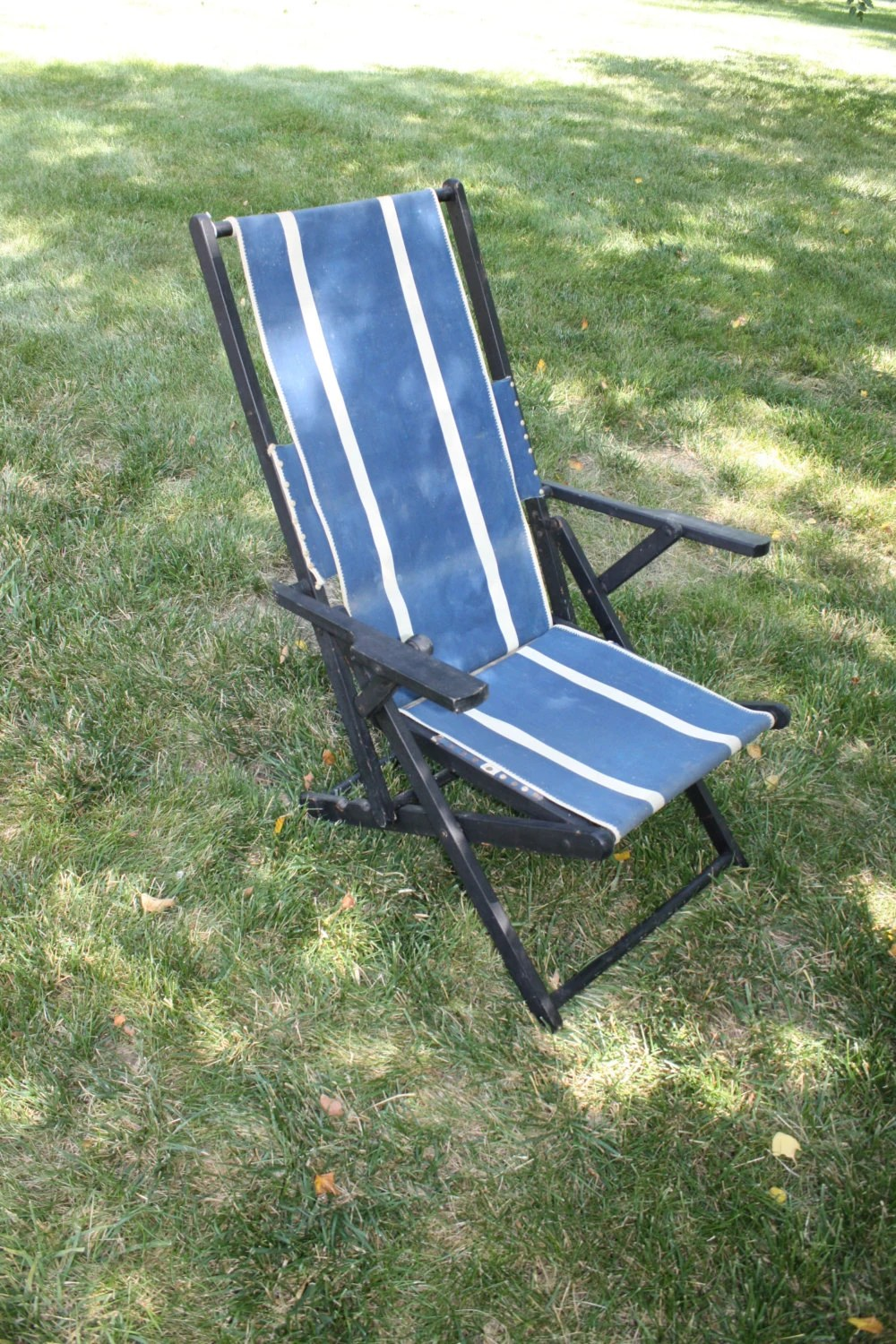 sailcloth beach chairs chair photo frame vintage canvas striped fabric classic green white black stripe etsy folding deck wood sling reclining blue mid century modern patio furniture travel trailer glamping