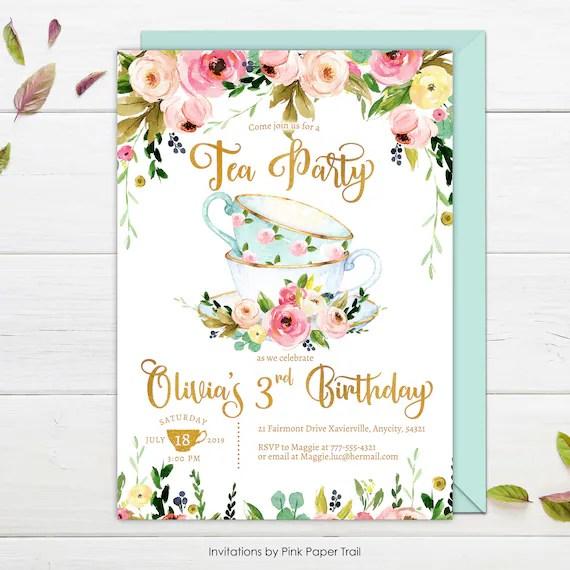 tea party invitation tea party birthday invitation floral high tea party floral and gold tea party personalized any age printable invite