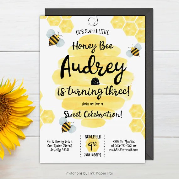 bee birthday invitation first bee day