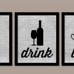 Kitchen Art Storage Bins Modern Wall Burlap Eat Drink Love Etsy 50
