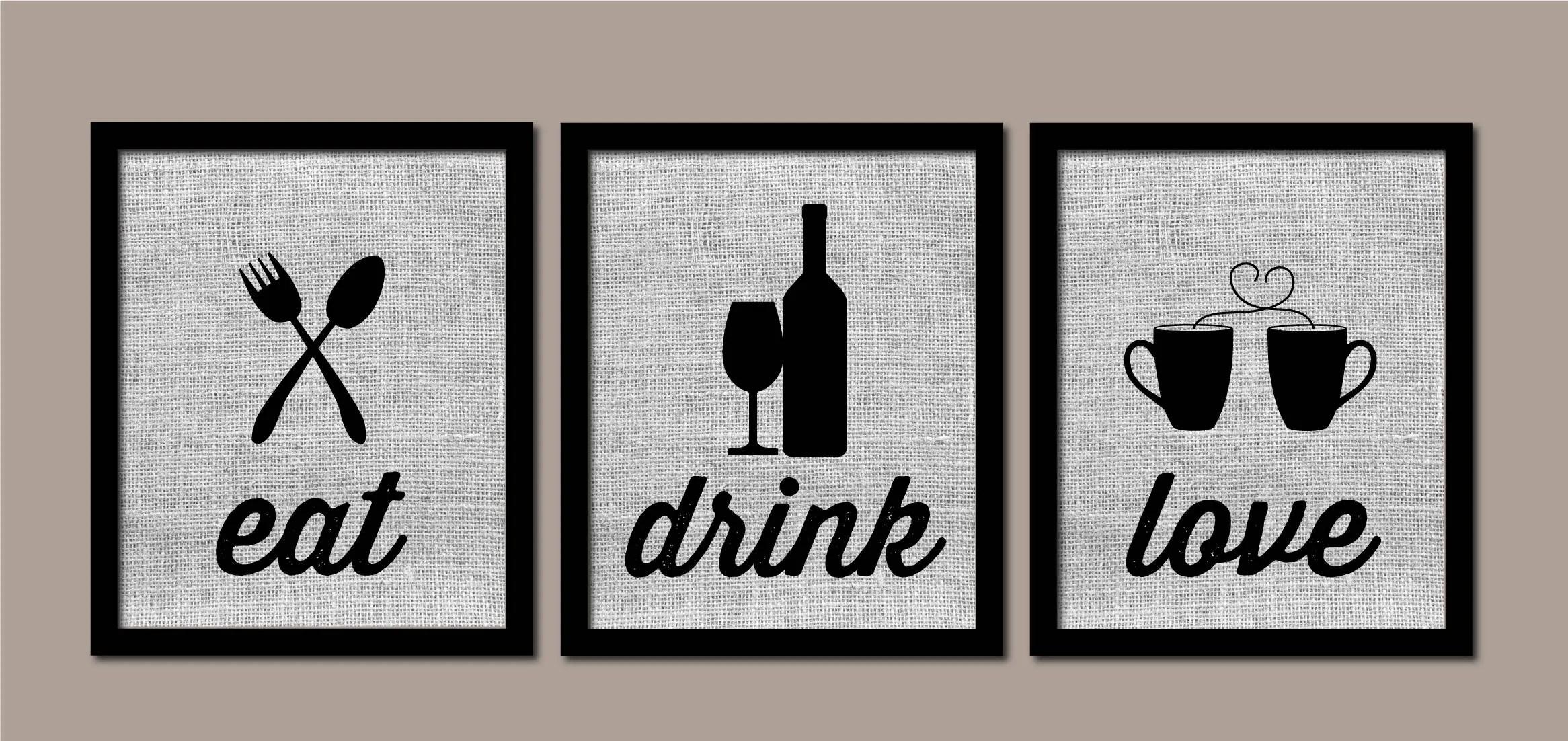 kitchen art tea towels modern wall burlap eat drink love etsy 50
