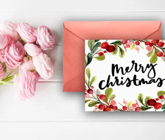 Merry Christmas Thank You Cards Berries Garland Watercolor Wreath Digital Download Printable Cards Red Green
