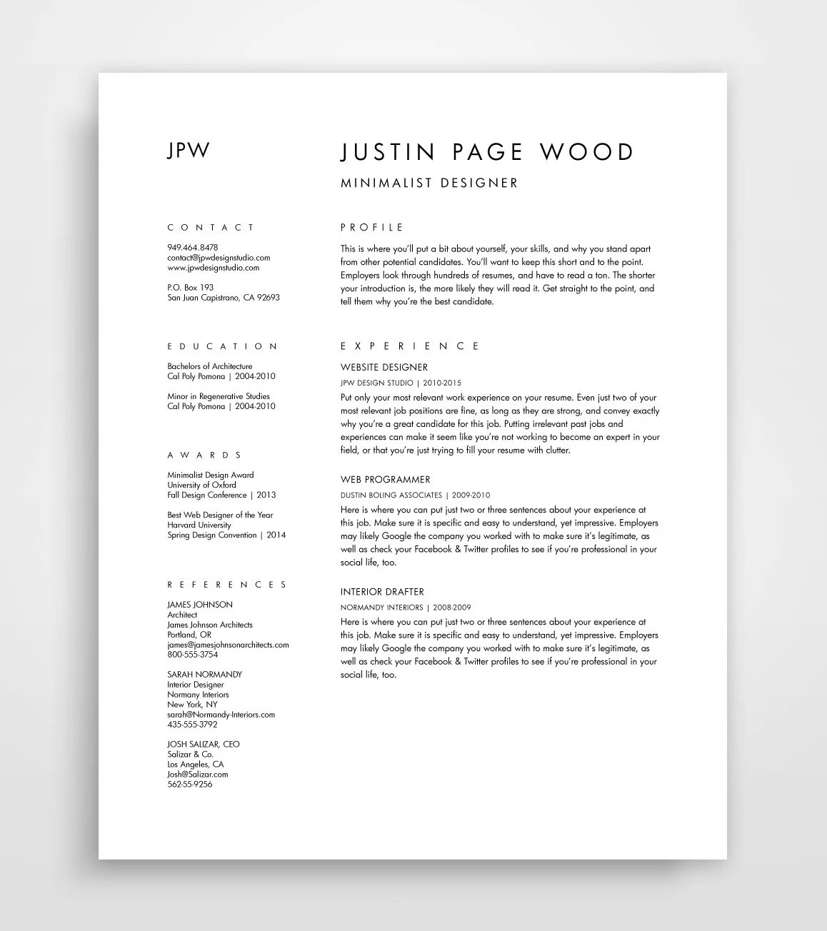 Simple Cover Page For Resume Resume And Cover Letter Cv Template Curriculum Vitae Downloadable Resume Simple Resume Template Minimalist Resume Editable Download
