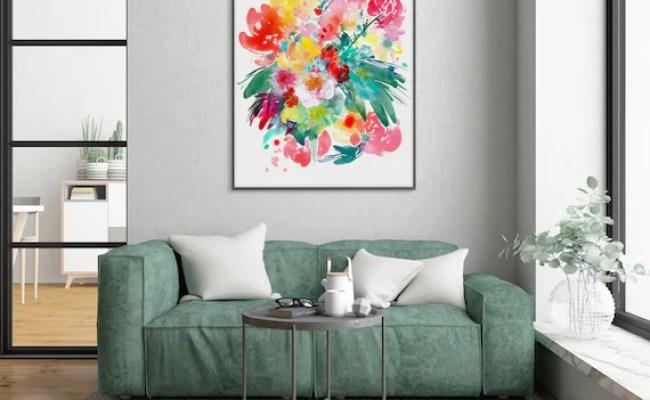 Flower Art Print Shabby Chic Wall Art Living Room Decor