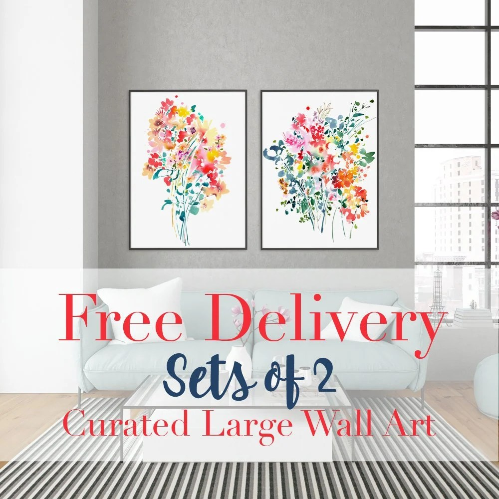 wall art sets for living room luxury decorating ideas set of 2 floral prints free delivery on large etsy image 0
