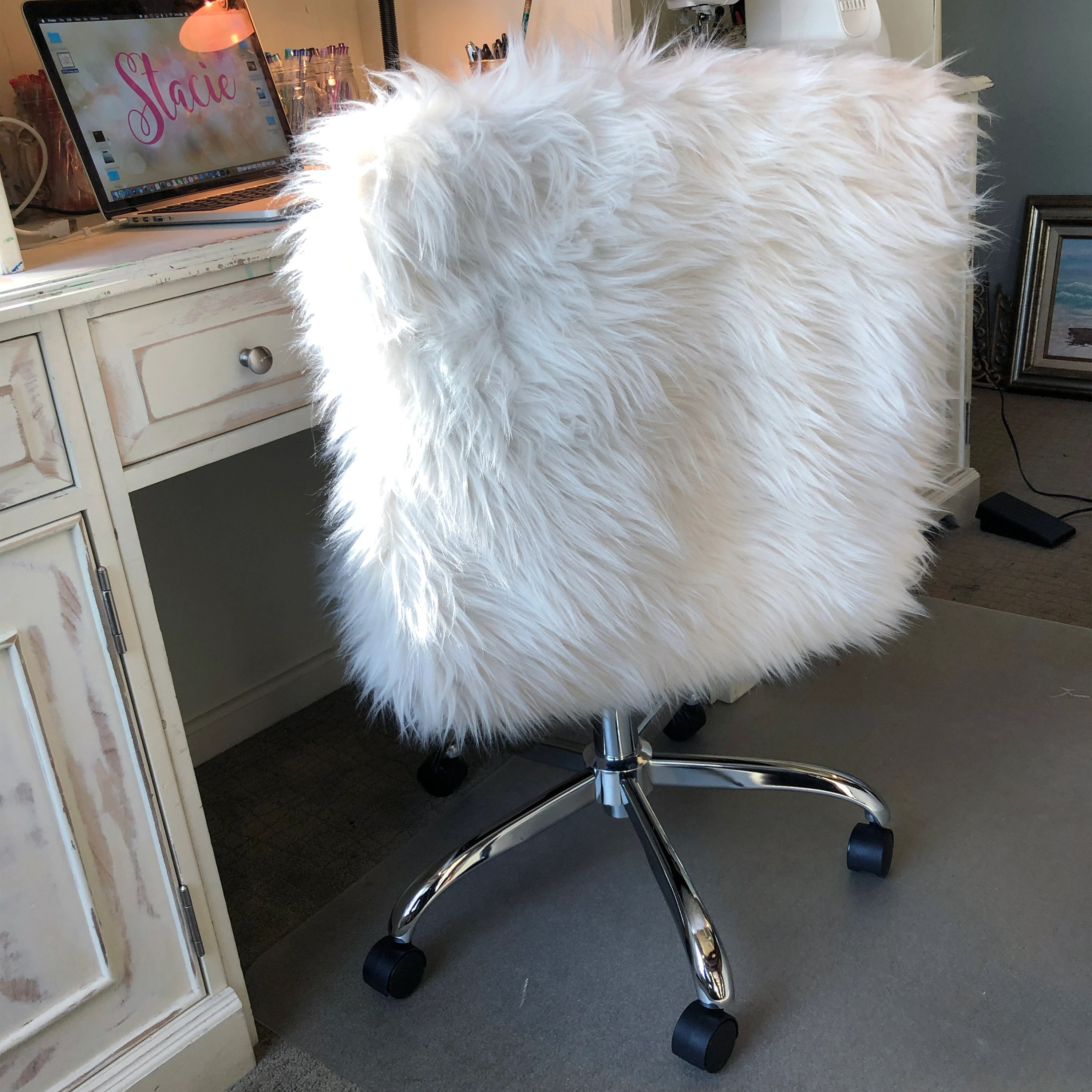 faux fur chair cover spandex covers for lifetime folding chairs slipcover etsy 50